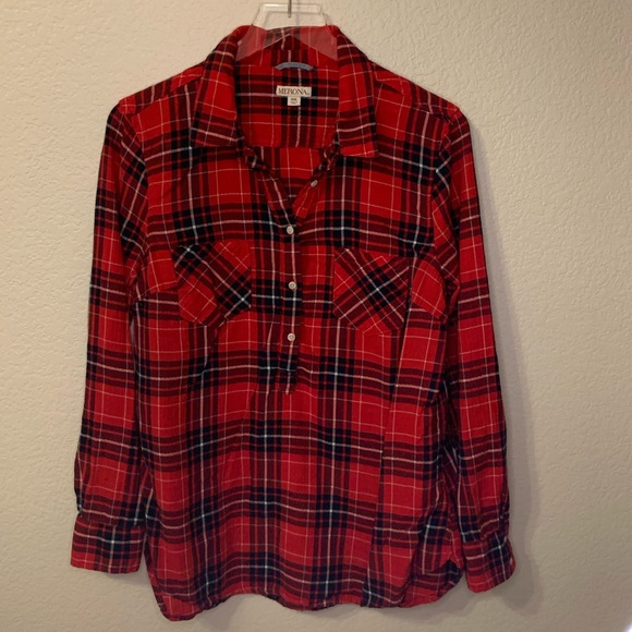 Merona Tops - Red and navy plaid shirt